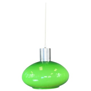 Green Cased Glass Pendant Light, Circa 1960s For Sale