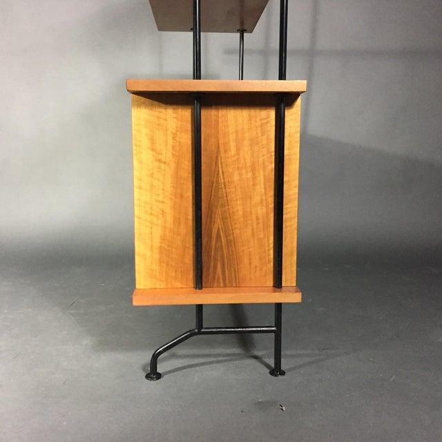 "56"" Blackened Steel and Birch Standing Shelf, Switzerland, 1950s For Sale In New York - Image 6 of 11"