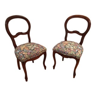 Antique Victorian Balloon Back Drawing Room Chairs - a Pair For Sale