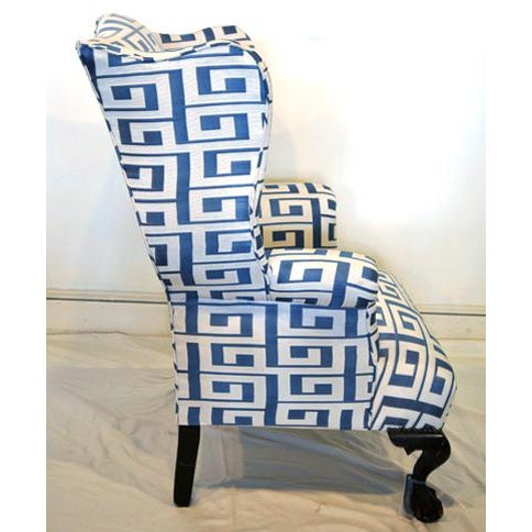 Traditional Wing Chair and Ottoman For Sale - Image 3 of 7