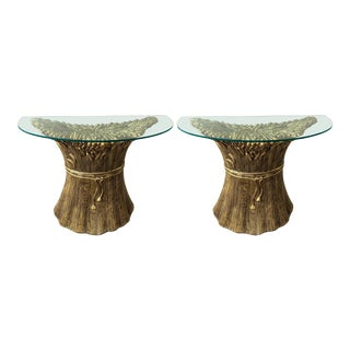 Hollywood Regency Gilt Ceramic Console Ears of Wheat by Panzeri - a Pair For Sale
