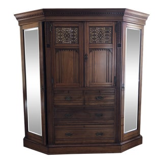 Mid-Century Modern Rare Walnut Triple Armoire For Sale