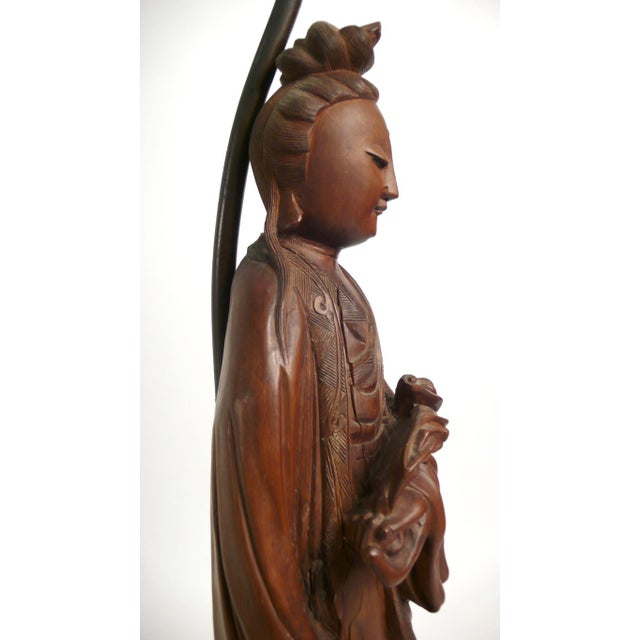1950s Hand-carved Teak Asian Lamp For Sale - Image 5 of 9