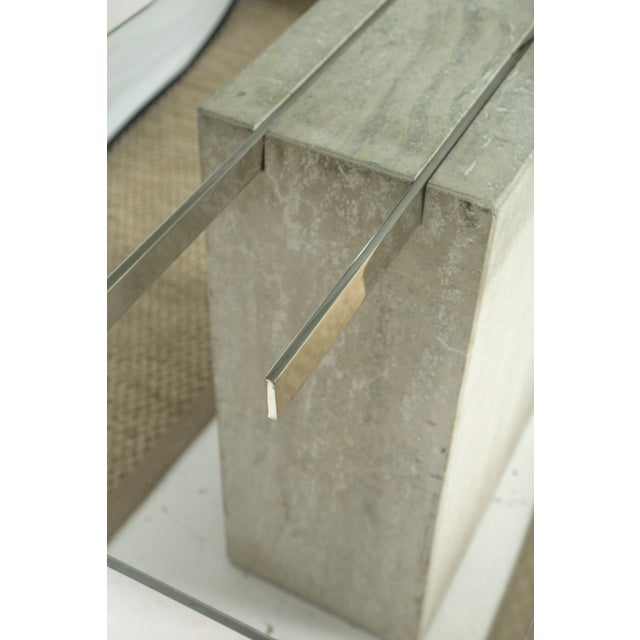 Travertine and Chrome Console Table by Ello - Image 4 of 9