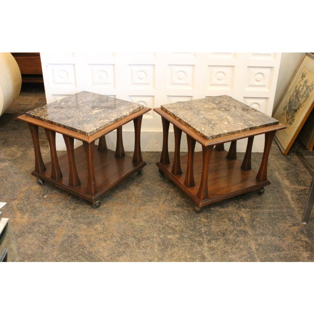 Mid Century Modern Ebonized Walnut Square Rolling Cocktail Tables with neutral tone Italian marble. Gorgeous tables that...