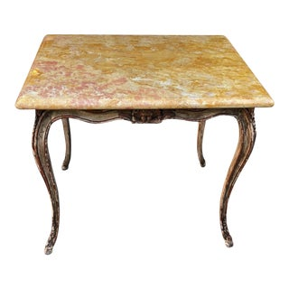 Antique Carved Italian Walnut Side Table W Sienna Marble Top For Sale