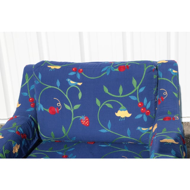 Crewel Embroidered Floral Strawberry Club Chairs - a Pair For Sale In Madison - Image 6 of 11