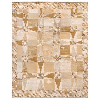 Rug & Kilim's Scandinavian-Inspired Geometric Beige Cream Wool Pile Rug For Sale