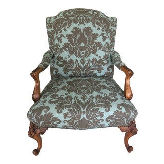 1940s Vintage Carved Walnut and Upholstered French Fauteuil Club Chair For Sale