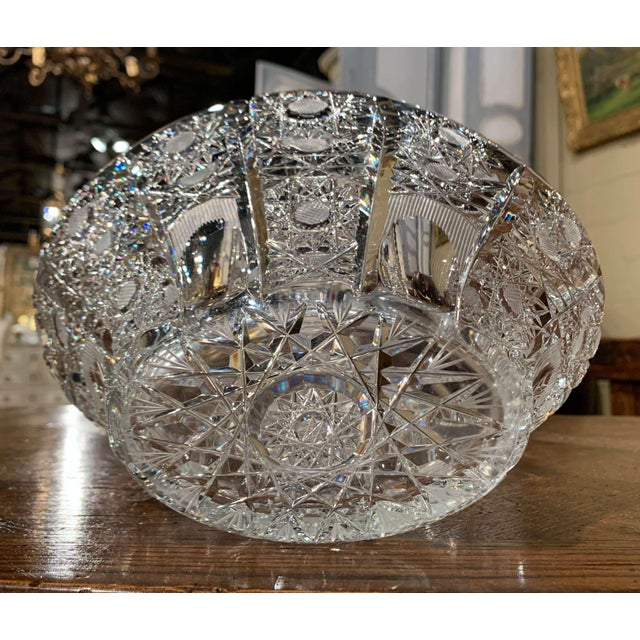 Mid-Century French Cut Glass Crystal Candy Basket With Handle For Sale - Image 9 of 10