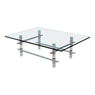 1970s Les Prismatiques Lucite and Chrome Coffee Table For Sale