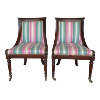 Hickory Chair Regency Style Mahogany Accent Chairs - A Pair For Sale