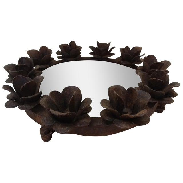 Rusted Iron & Mirror Plateau Candle Holder For Sale