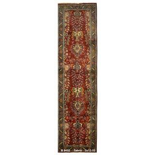 Vintage Persian Tabriz Rug - 3′ × 12′10″ For Sale