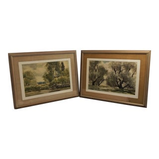 1970s Vintage John E Detore Original Landscape Watercolor Paintings - a Pair For Sale