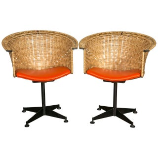 1960s Vintage Woven Swivel Chairs- a Pair Preview