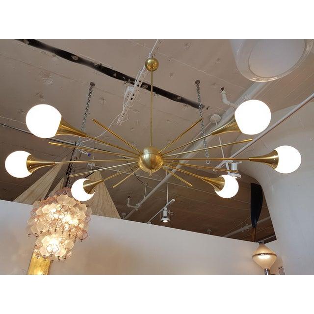 Mid-Century Modern Italian Stilnovo Style Brass & White Glass Sputnik Chandelier 1960s For Sale - Image 12 of 12