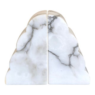 Mid Century White Italian Carved Alabaster Bookends- a Pair For Sale