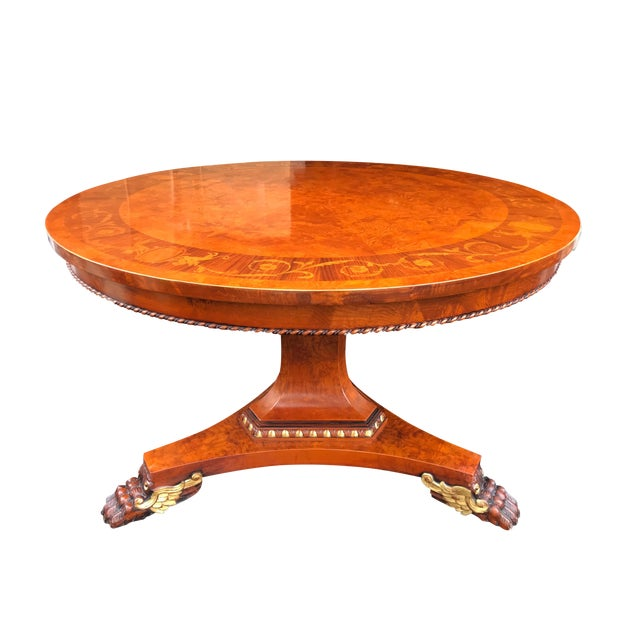 French Empire Walnut Pedestal Table For Sale