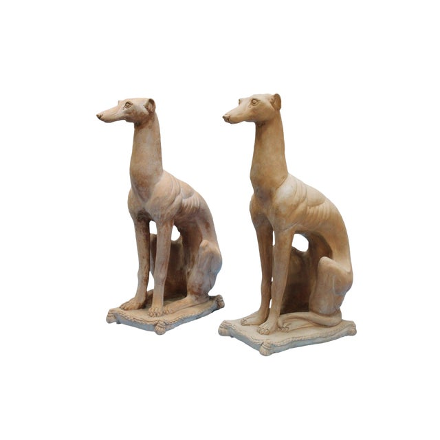 Italian Hollywood Regency Traditional Whippet Greyhound Dog Statues - a Pair For Sale