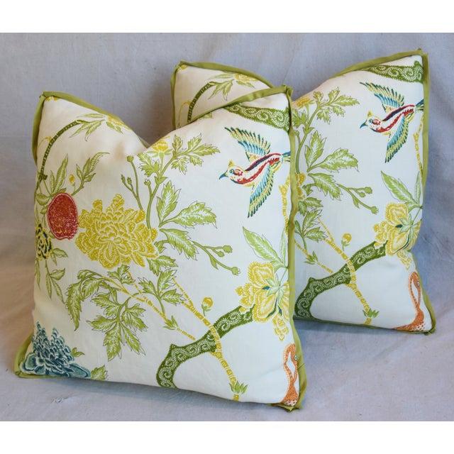 "Linen Schumacher Arbre Chinois Meadow Chinoiserie Linen & Scalamandre Mohiar Pillows 21"" Square - Pair For Sale - Image 8 of 13"