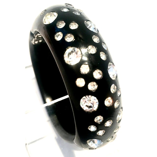 1950's Vintage Weiss Black Thermoplastic & Swarovski Crystal Clamper Cuff Bracelet For Sale In West Palm - Image 6 of 11