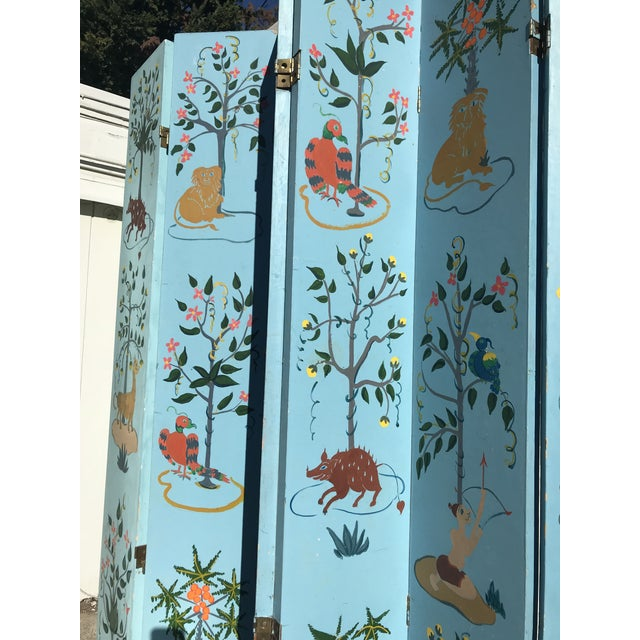 1960s Tall Hand Painted Indochine Wood Screen For Sale - Image 10 of 11