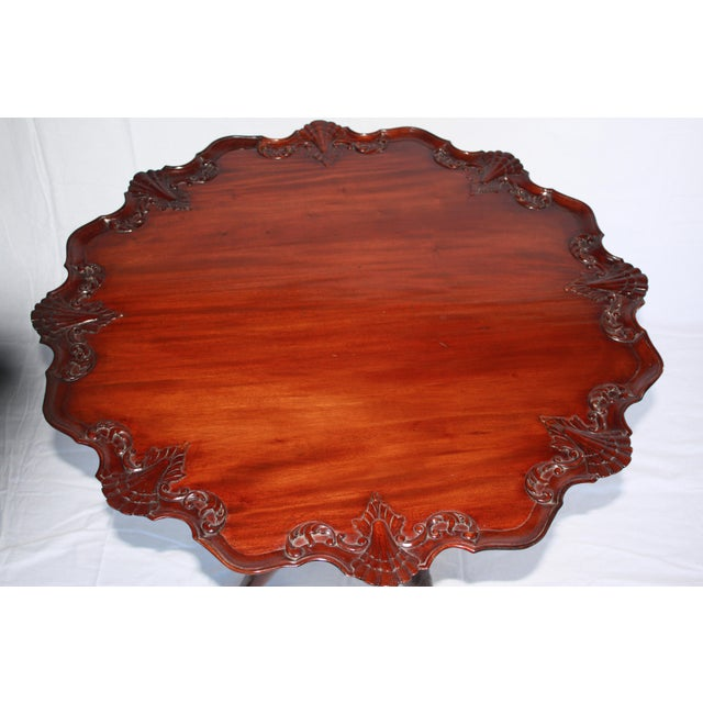 Traditional Carved Mahogany Pie Crust Tilt-Top Table For Sale - Image 3 of 7