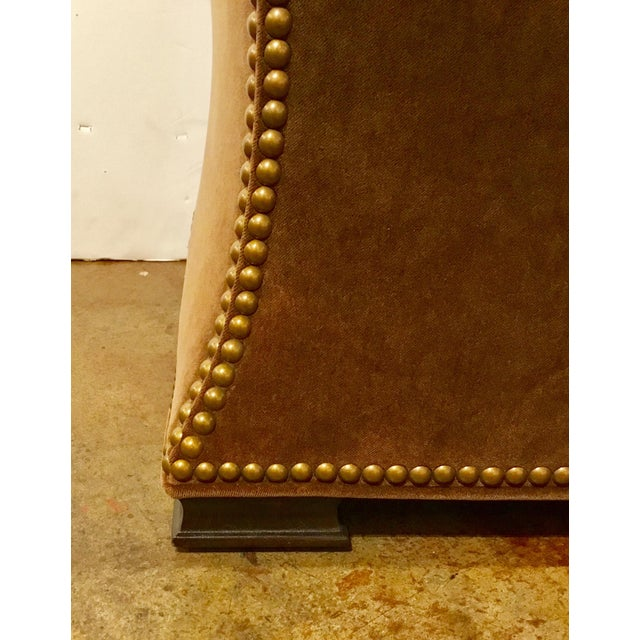 Modern Ambella Home Cinched Brown Velvet Hassock For Sale - Image 4 of 6