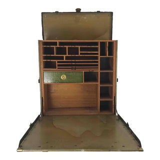 Unusual Portable Ww1 Field Desk Suitcase Multi-Slots /Drawer by Rogers Madison For Sale