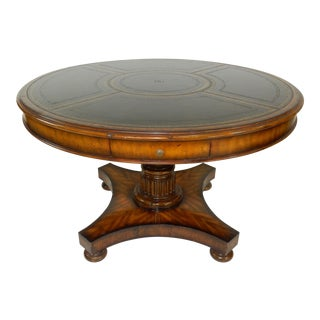 Maitland-Smith Frontier Finished Mahogany Card Table, Black Angus Leather Top For Sale