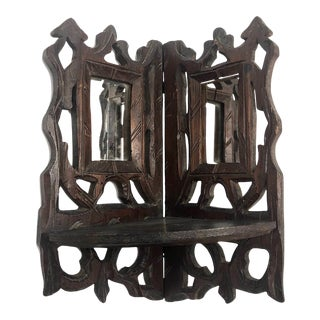 Antique Hand-Carved Corner Shelf With Mirrors For Sale