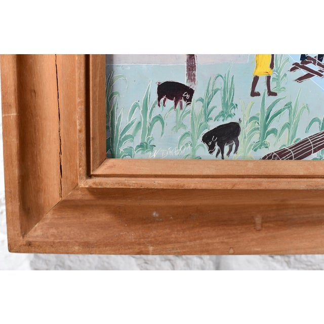 Mid 20th Century Haitian Rural Landscape Painting by Nicolas Dreux, Framed For Sale In Tampa - Image 6 of 9