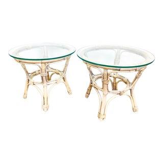 Vintage Rattan Coastal / Boho Chic Side Tables, Pair For Sale