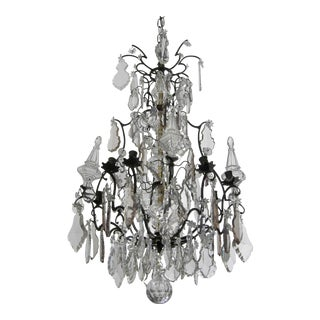Antique French Crystal and Bronze Chandelier For Sale