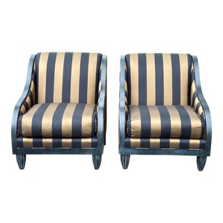 Swaim Furniture Custom Black and Gold Upholstered Scroll Back Club Chairs - a Pair For Sale