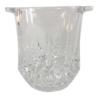 French Patterned Glass Handled Ice Bucket