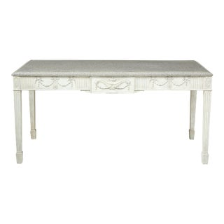 George III Gray-Painted Mahogany Console Serving Table For Sale