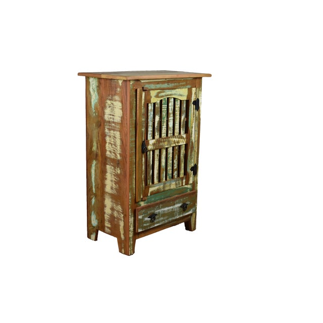 This adorable distressed cabinet is filled with history. Made from reclaimed peroba rosa wood over 100 years old and...