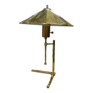 Vintage Polished Brass Lamp With Brass Shade For Sale