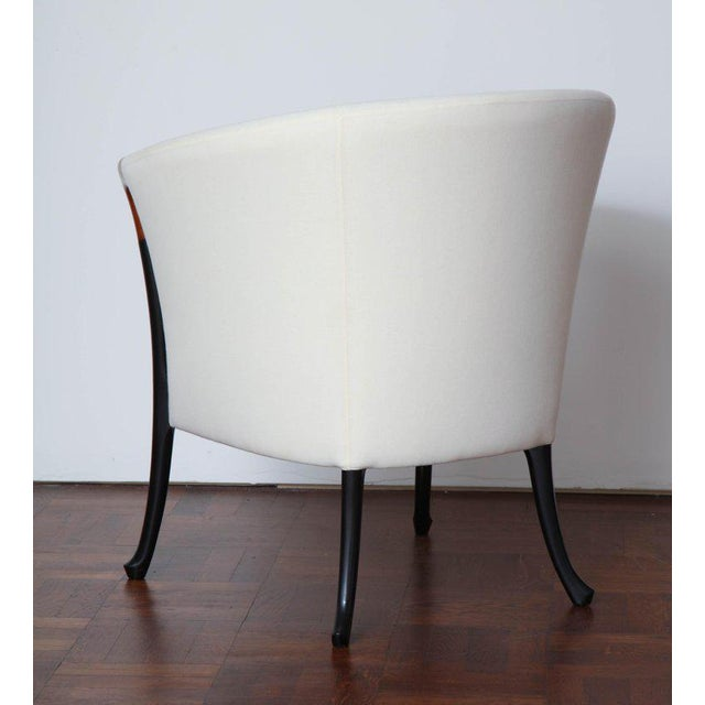 Contemporary Pair of Curved Back Armchair With Beech Wood Legs For Sale - Image 3 of 8