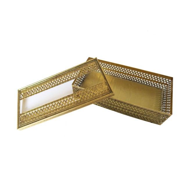 Vintage Gold Brass Hollywood Regency Filigree Tissue Box Holder Cover - Image 4 of 4