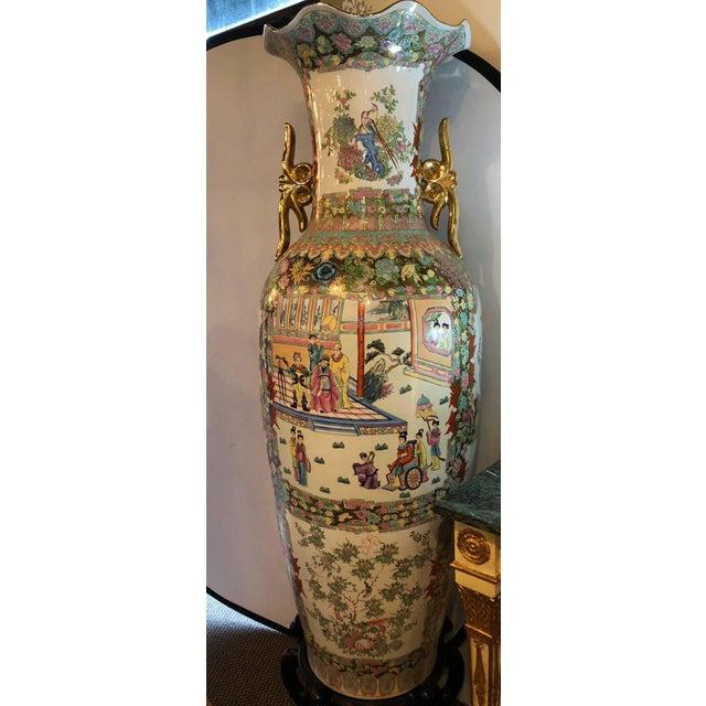 Monumental Oriental Vases On Teak Stands A Pair Chairish