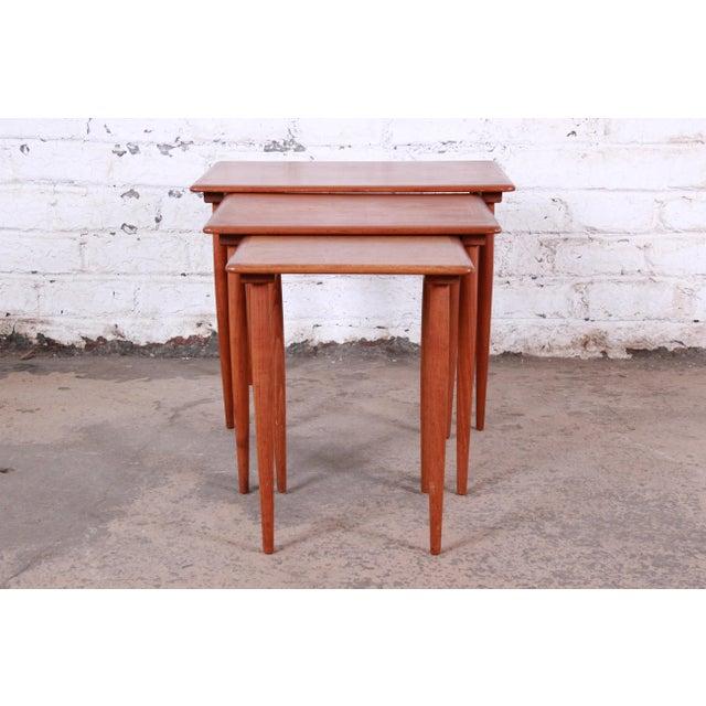 Danish Modern Teak Nesting Tables - Set of 3 For Sale In South Bend - Image 6 of 11