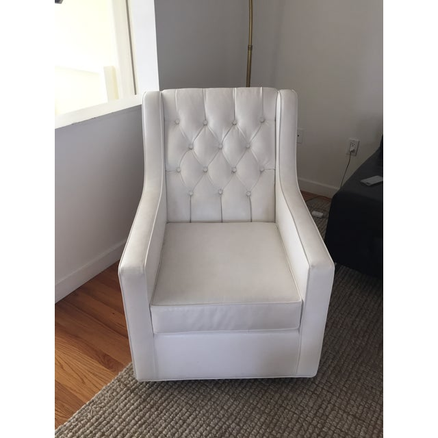 White Faux Leather Swivel Rocking Chair - Image 3 of 7