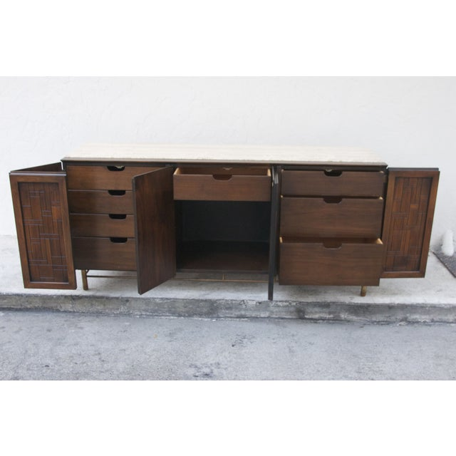 Johnson Furniture Mid-Century Patchwork Credenza For Sale - Image 5 of 7