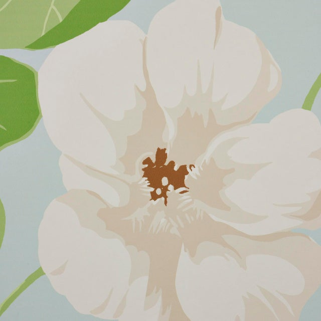 Schumacher Schumacher Nasturtium Wallpaper in Sky (8 Yards) For Sale - Image 4 of 6