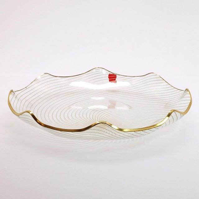 1960s Op Art Mf Crystal Denmark Gold Filagree Spiral Bent Glass Platter For Sale - Image 4 of 8