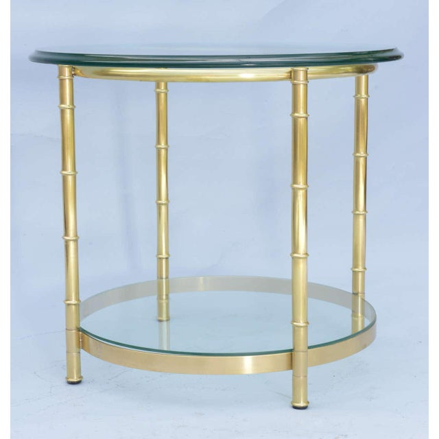 Polished Brass Faux Bamboo End Table For Sale - Image 9 of 11
