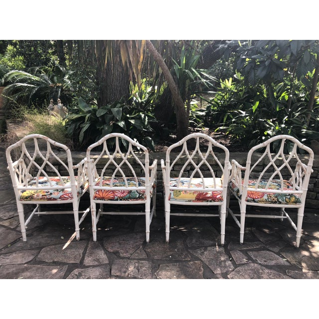 "Vintage Chinese Chippendale Faux bamboo white lacquer armchairs with recent upholstery in Schumacher ""Chiangmai Dragon""...."